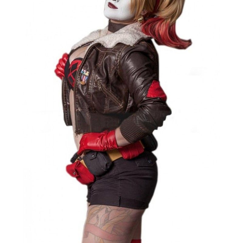 7bb18bf80 Harley Quinn Bombshell Joker Fur Collar Bomber Leather Jacket ...