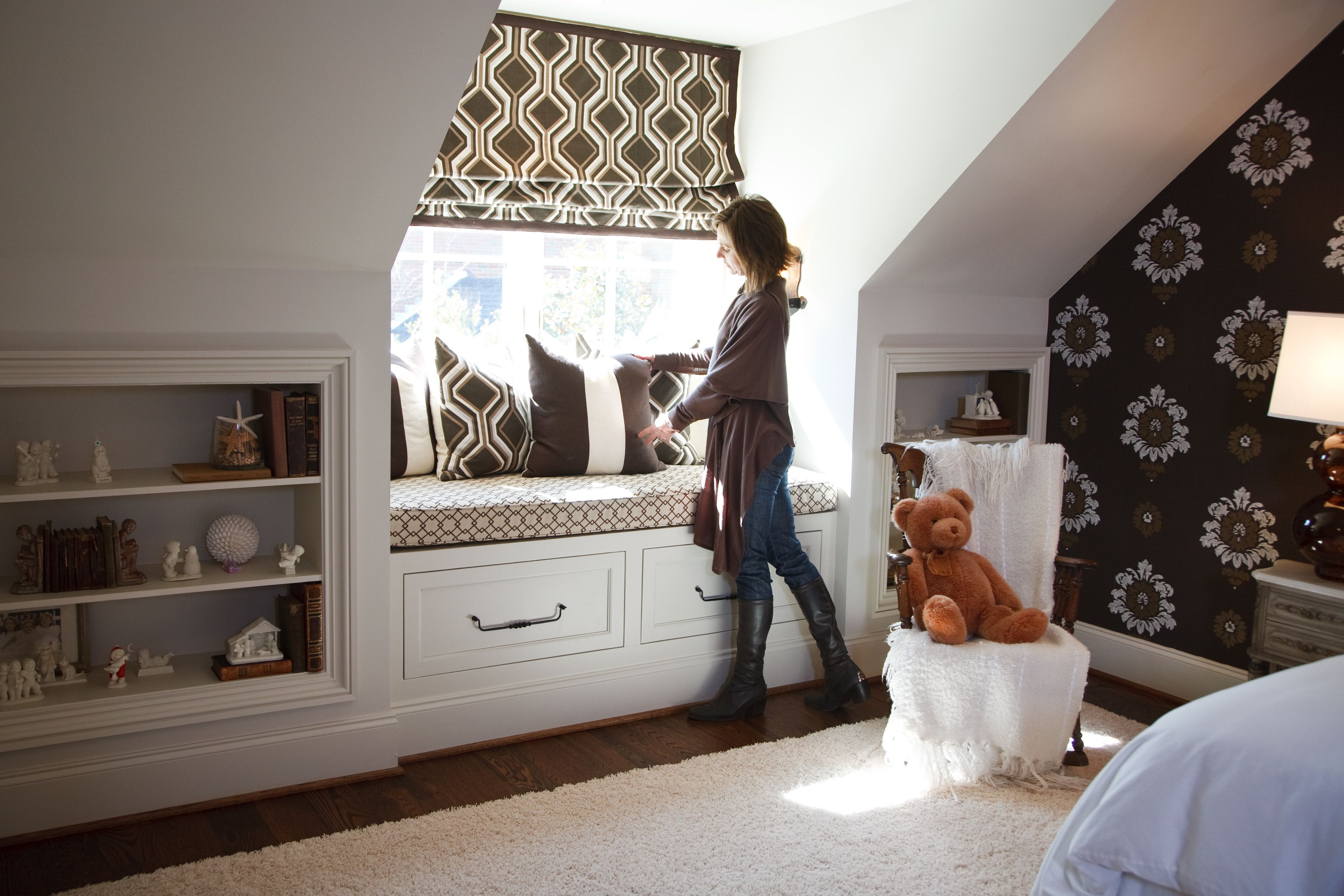 Fun Graphic Patterns In Neutral Tones For Boys Room, Window
