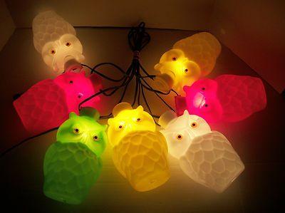 Vintage Owl Shape RV/Camping/Patio String Light Set 7 Blow ...