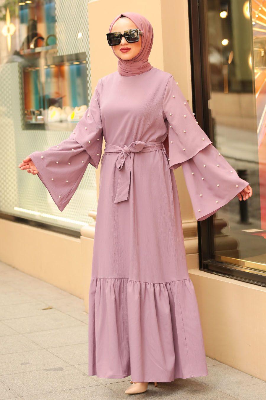 Photo of Nayla Collection – Bead Detail Lilac Islamic Dress 4274LILA – Tesetturisland.com
