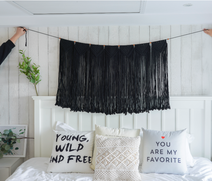 Macrame Wall Hanging Curtain Fringe Garland Banner Black #curtainfringe
