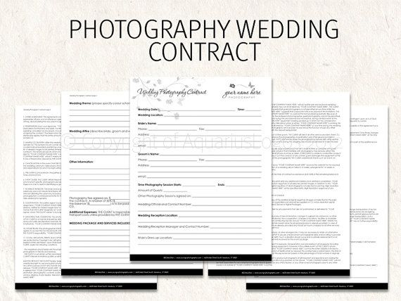 wedding photography contract business forms butterfly flowers