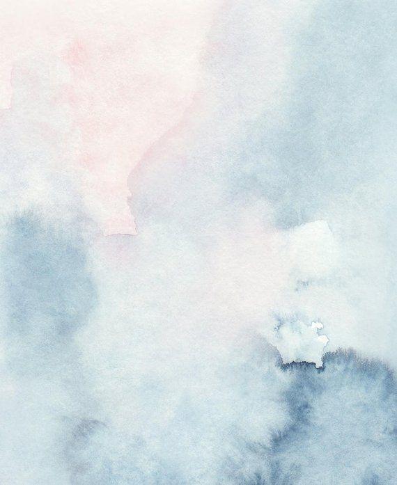 Druckbare Abstrakte Kunst Aquarell Wandkunst Himmel Druck Blau