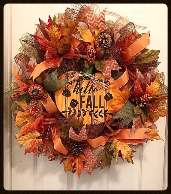 Photo of Hello Fall Pumpkin Decorative Mesh Wreath / Pumpkin Wreath / Fall Wreath / Fall Wreath / Orange, Moss and Brown Wreath
