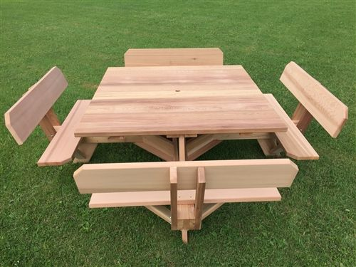 56 Western Red Cedar Picnic Table With Attached Backs Octagon Picnic Table Diy Picnic Table Picnic Table Plans