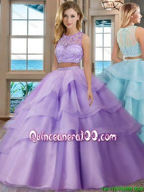 c648cd86c3c See Through Scoop Brush Train Tulle Aqua Blue Two Piece Quinceanera Dresses  with Beading and Appliques