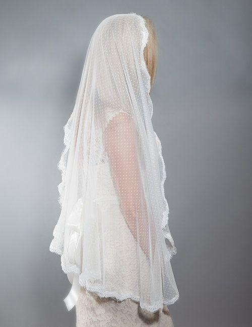 9448d3042b Swiss Dot Lace Veil-Mantilla Style