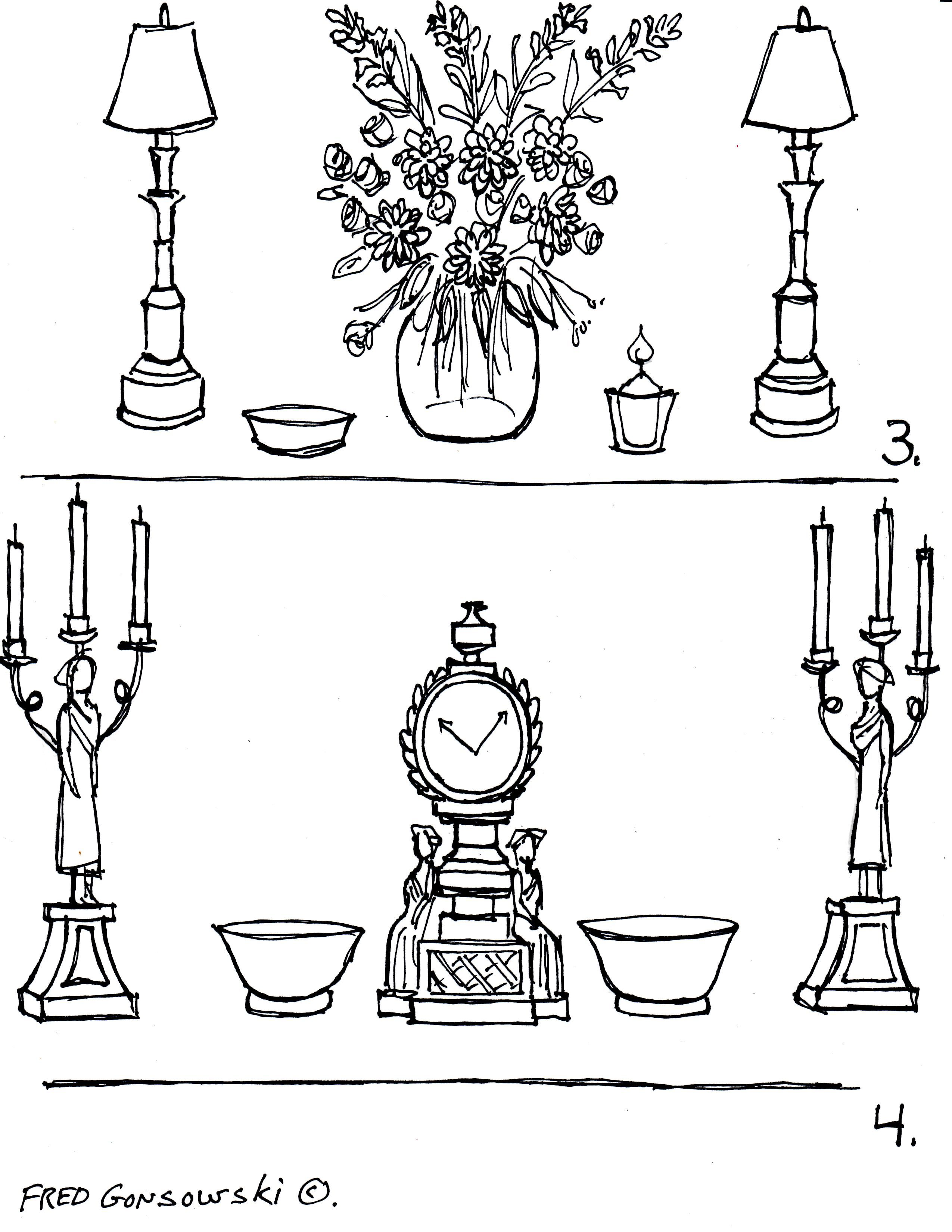 The Arranging Of Knickknacks Decorative Accessories On A