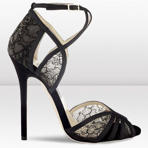 df52703d92e Jimmy Choo Fitch 120mm Black Fine Glitter and Lace Sandals  JimmyChooHeels
