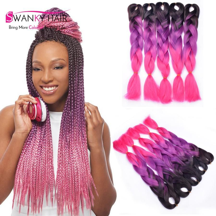 Black Purple Pink Ombre Color Easy Cute Yaki Braid Hair Extension High Temperature Fiber Kaneka Hair Styles Hairstyles For Balding Crown Braids With Extensions