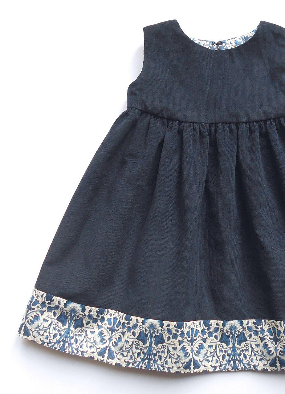 Handmade Corduroy & Liberty Print Dress | gathersandbows on Etsy