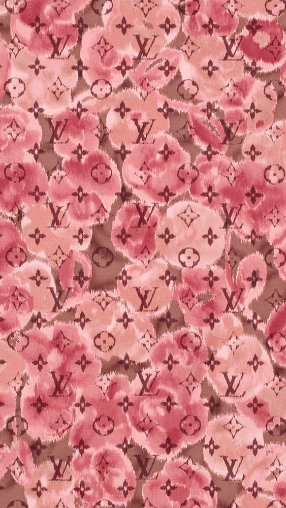 Pink red watercolour floral LV Vuitton iphone wallpaper