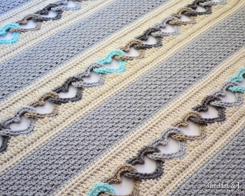 Crochet Blanket PATTERN - With All My Heart - crochet pattern heart ...