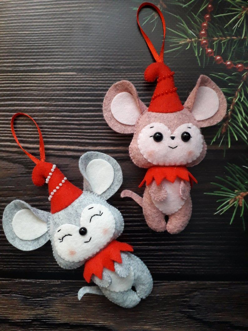 Felt Christmas Tree Decorations Christmas Tree Ornaments Felt Mouse Ornament Christmas Gift Felt Christmas Ornaments Christmas Decor
