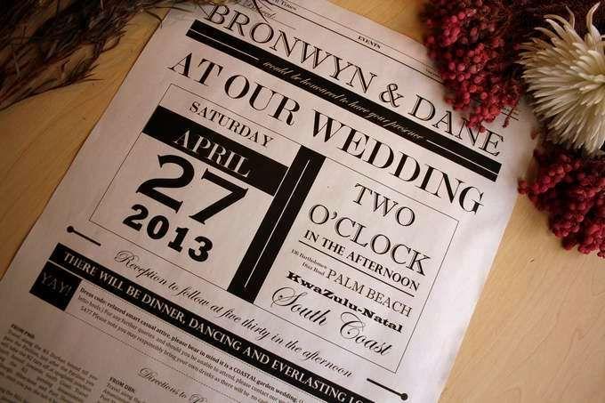Newspaper Wedding Invitations: Elegant Modern Newspaper Wedding Invitation