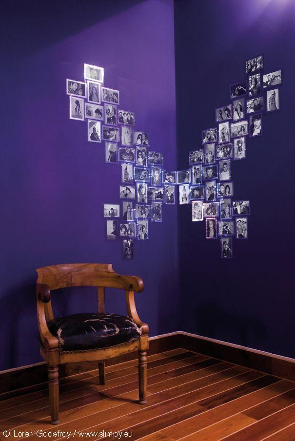 Papillon en angle de mur composé de 8 modules Coeur miroirs (64 ...