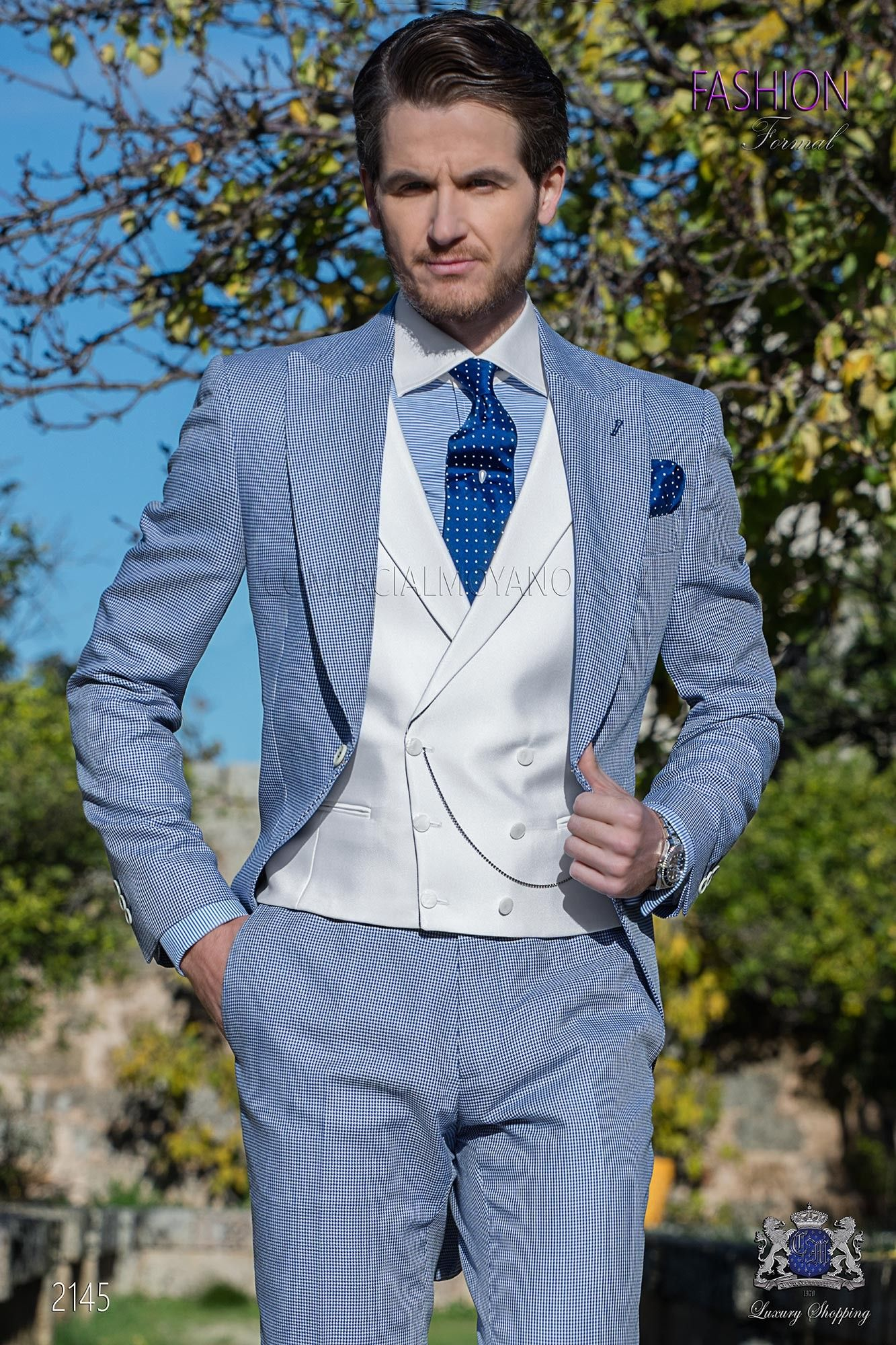 Houndstooth royal blue morning suit ON Gala | Gentleman Collection ...