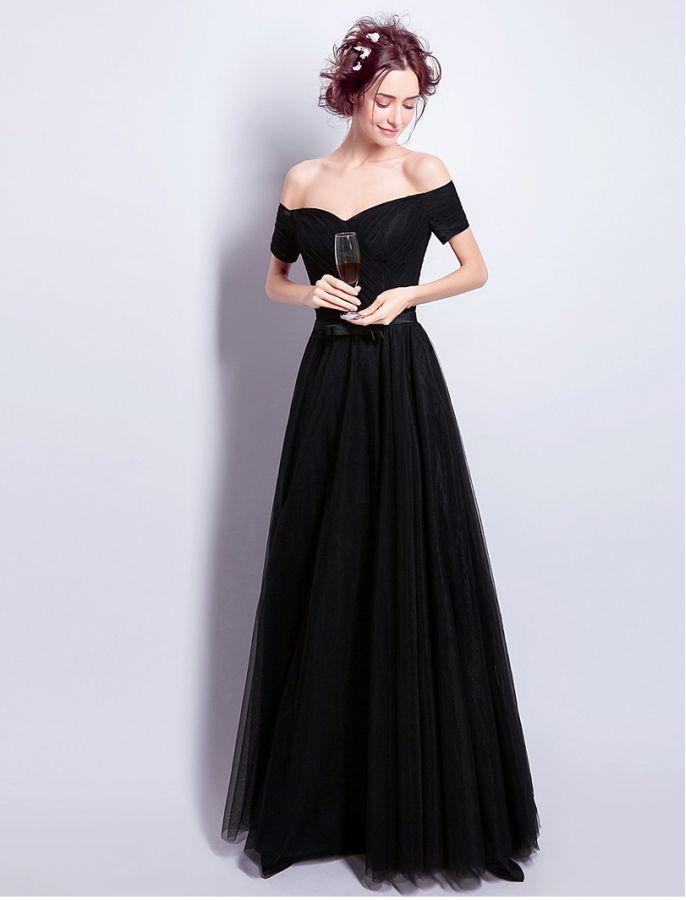Audrey Hepburn Vintage Inspired Black Off Shoulder Prom Formal