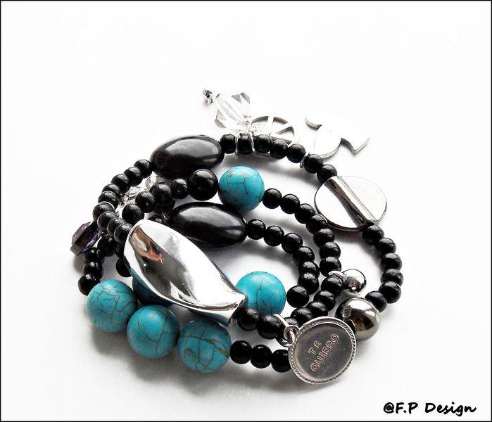 Hier biete ich ein total trendiges Armband,mehrreiig aus türkisfarbenen Howlith Perlen. In Kombination mit Silber und schwarz ist dieses Armband ein t