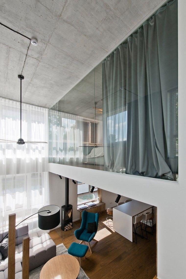 Loft bed curtain ideas  Diseño de interiores loft al estilo escandinavo muy moderno