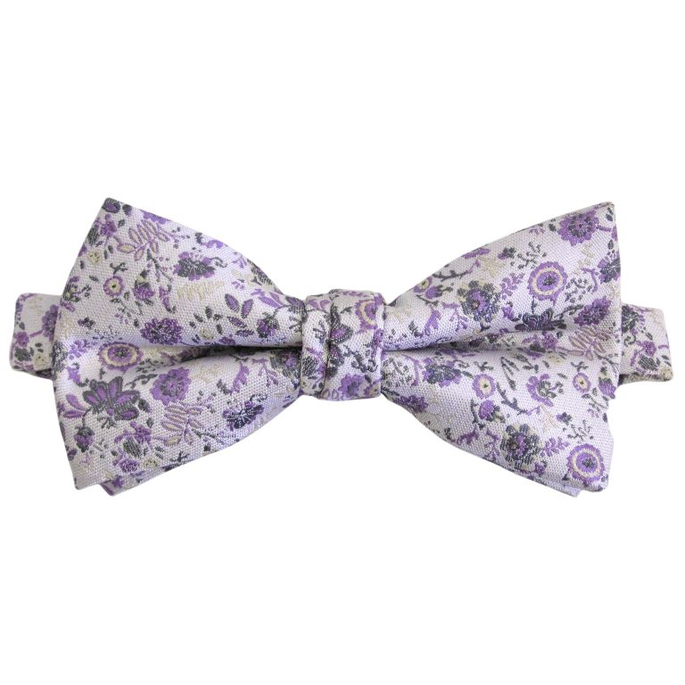Silver Lavender Small Floral Banded Bow Tie 6041 Tie One On In 2020 Mens Floral Tie Floral Tie Wedding Floral Bow Tie