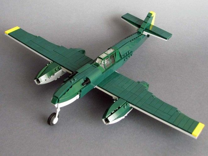 Green and stone grey fuselage Lego Large Airplane tail