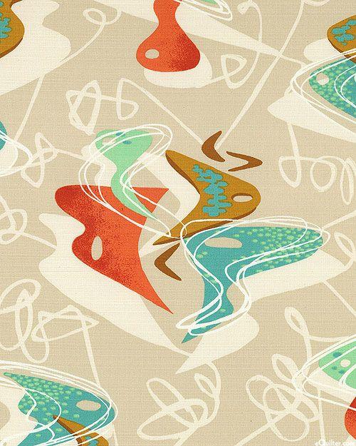 Retro Vibe - Abstract Dance - Natural - BARK CLOTH-Quilt Fabrics ... : modern quilt fabric online - Adamdwight.com