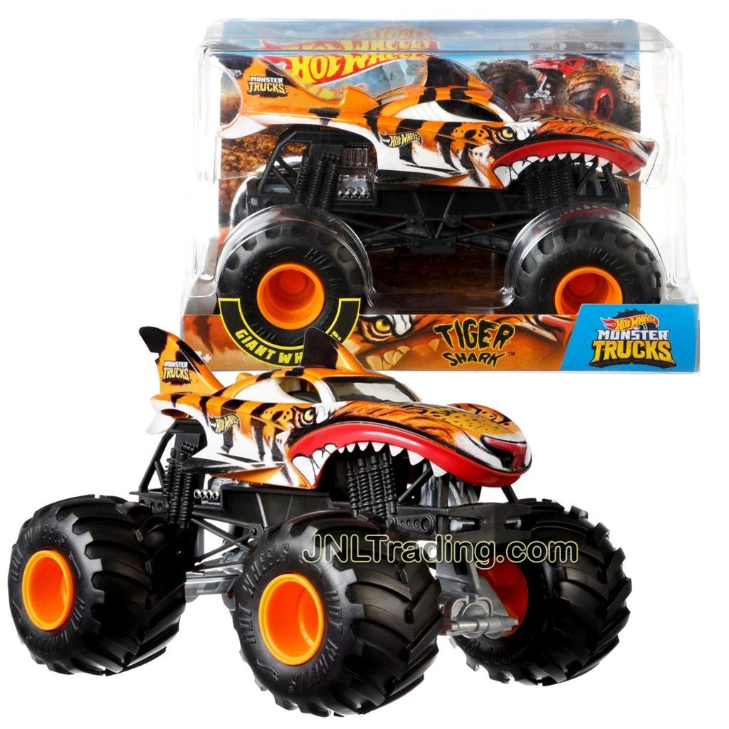 Hot Wheels Year 2018 Monster Jam 1 24 Scale Die Cast Metal Body Official Monster Truck Series Tiger Shark Fyj92 With Monster Tires Working Suspension And 4 W Monster Trucks Hot Wheels Monster Jam