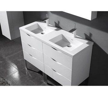 Madeli Milano 48 Double Bathroom Vanity For X Stone Integrated Basins Glossy