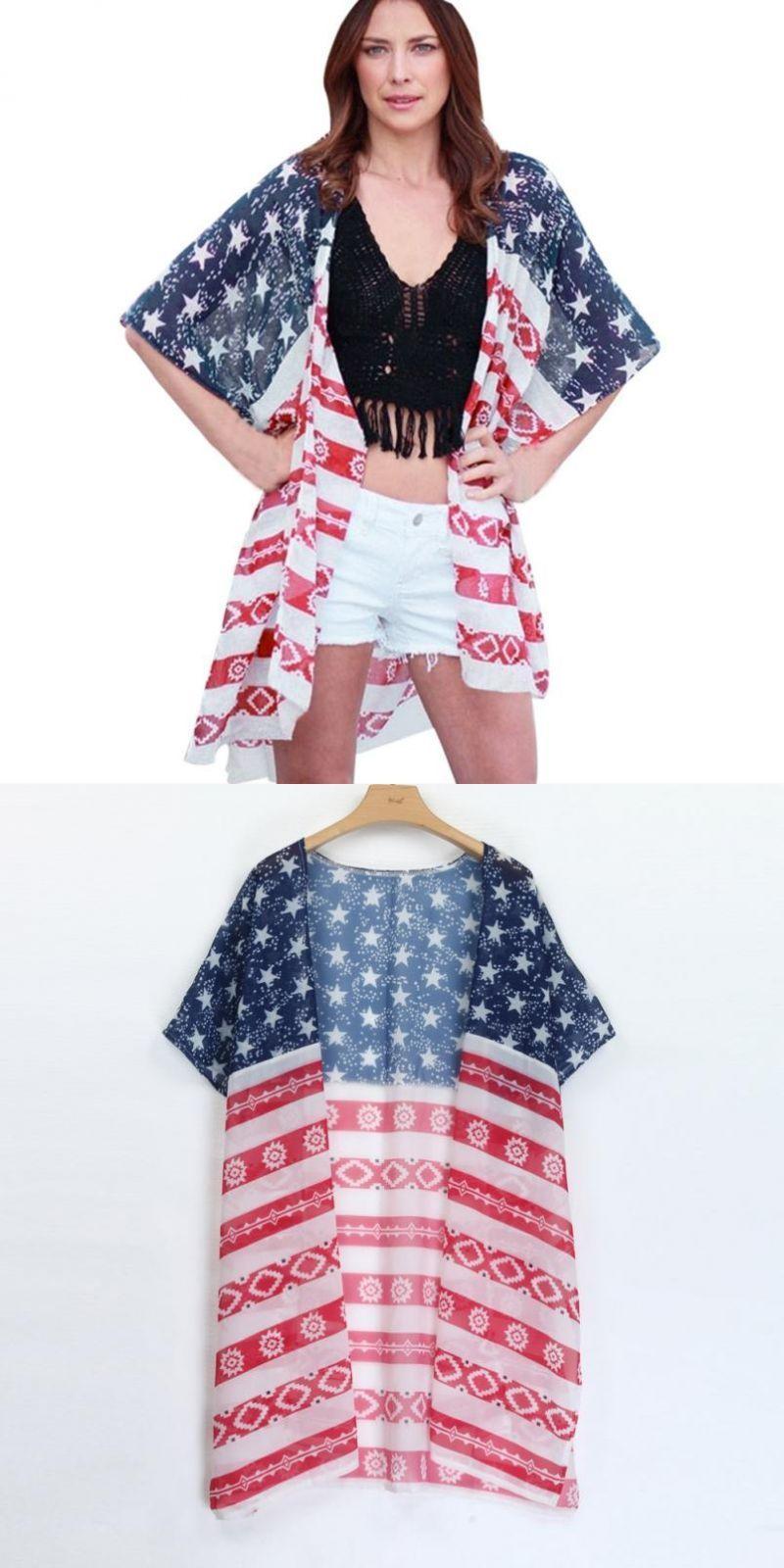 57876fc06 Women american usa flag print blouse loose chiffon tops xl summer print  beach wear shawl cover