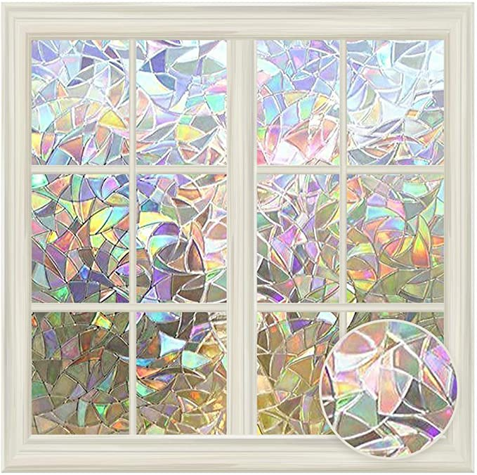 3D Static Cling Frosted Rainbow Glass Window Film Privacy Sticker Home Decor