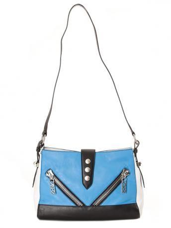 KENZO SA102L04-70-Kenzo blue leather shoulder bag-borsa azzurra in pelle-kenzo bags shop online
