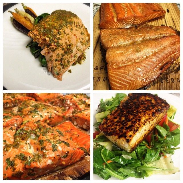 Salmon Four Ways!  Are you tired of the same recipe? Follow us for great recipe ideas, Clean eating information and more!  #Salmon #Recipes #CookingTips