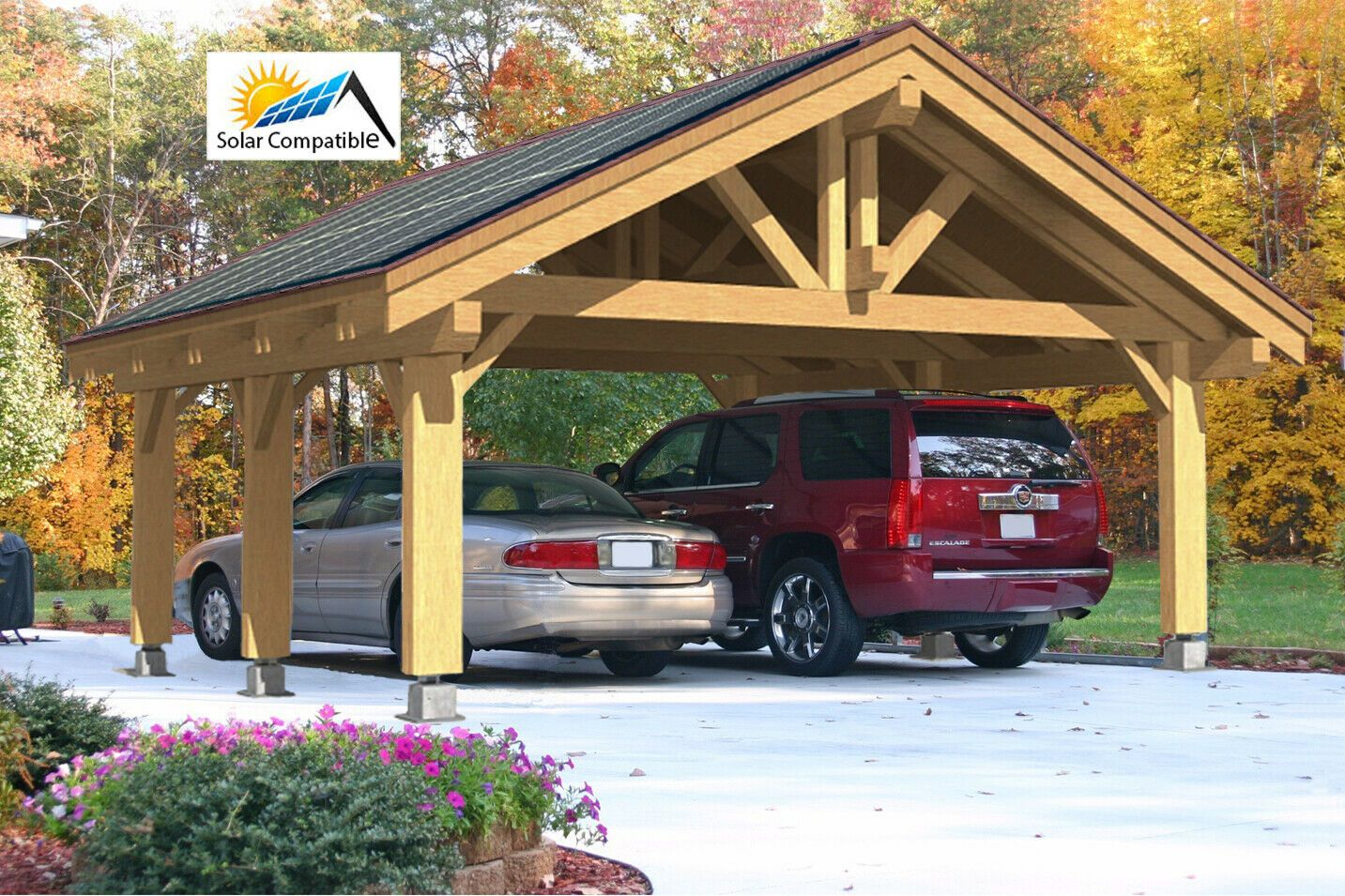 Details about 24'x24' (576 sq.ft.) HEAVY TIMBER CARPORT