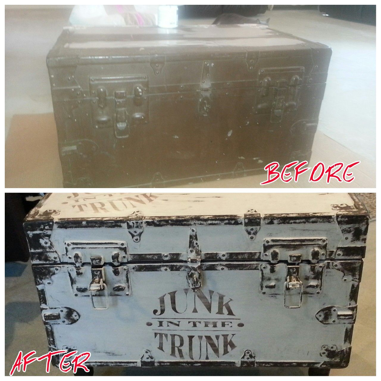 A before and after. Just chalk painted white. Then sanded areas I wanted the original color to show through. Made my own stencil JUNK IN THE TRUNK then added minwax clear wax to cover. Oh I also added short wood legs in with dark walnut stain.