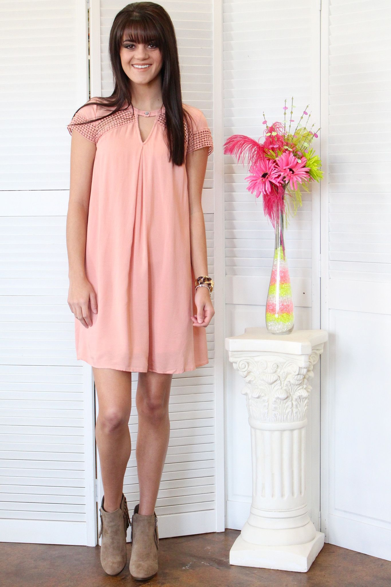 Feelin\' Peach Trapeze Keyhole Dress {Rose} | Get in my closet ...