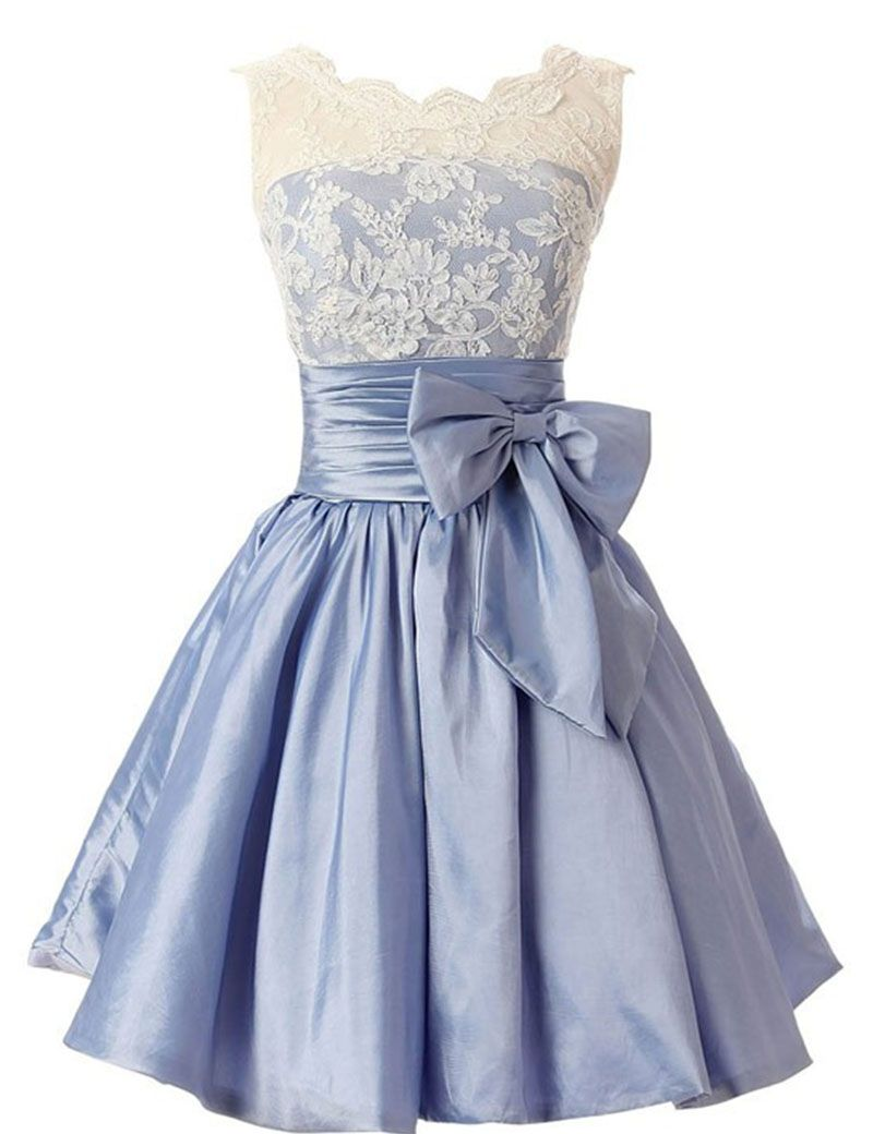 Elegant Scalloped-Edge Knee-Length Blue Homecoming Dress with White Lace  Bowknot d53227b19