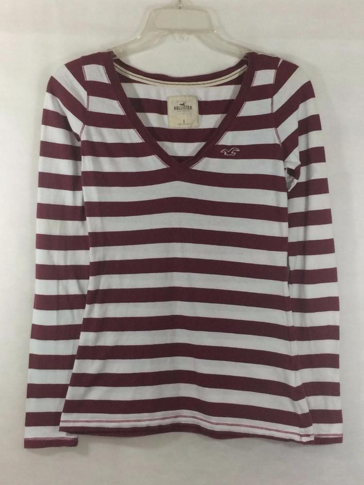 729ed40dc7 HOLLISTER Size S Small Long Sleeve Vneck Striped Tee Top Blouse Burgundy  White #Hollister #Vneck #Casual