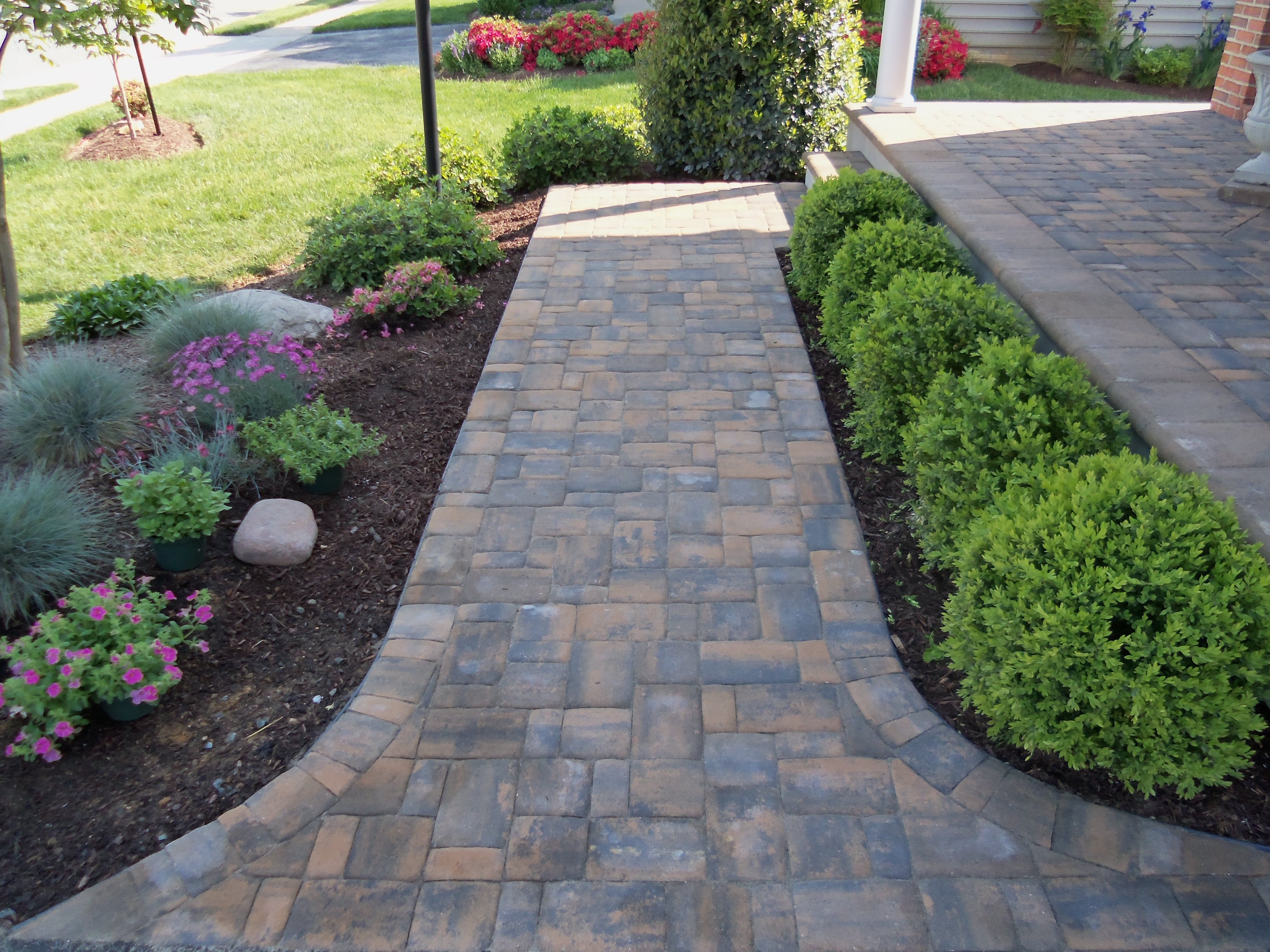 landscaping ideas between porch and sidewalk porch when you can this beautiful brick paver. Black Bedroom Furniture Sets. Home Design Ideas
