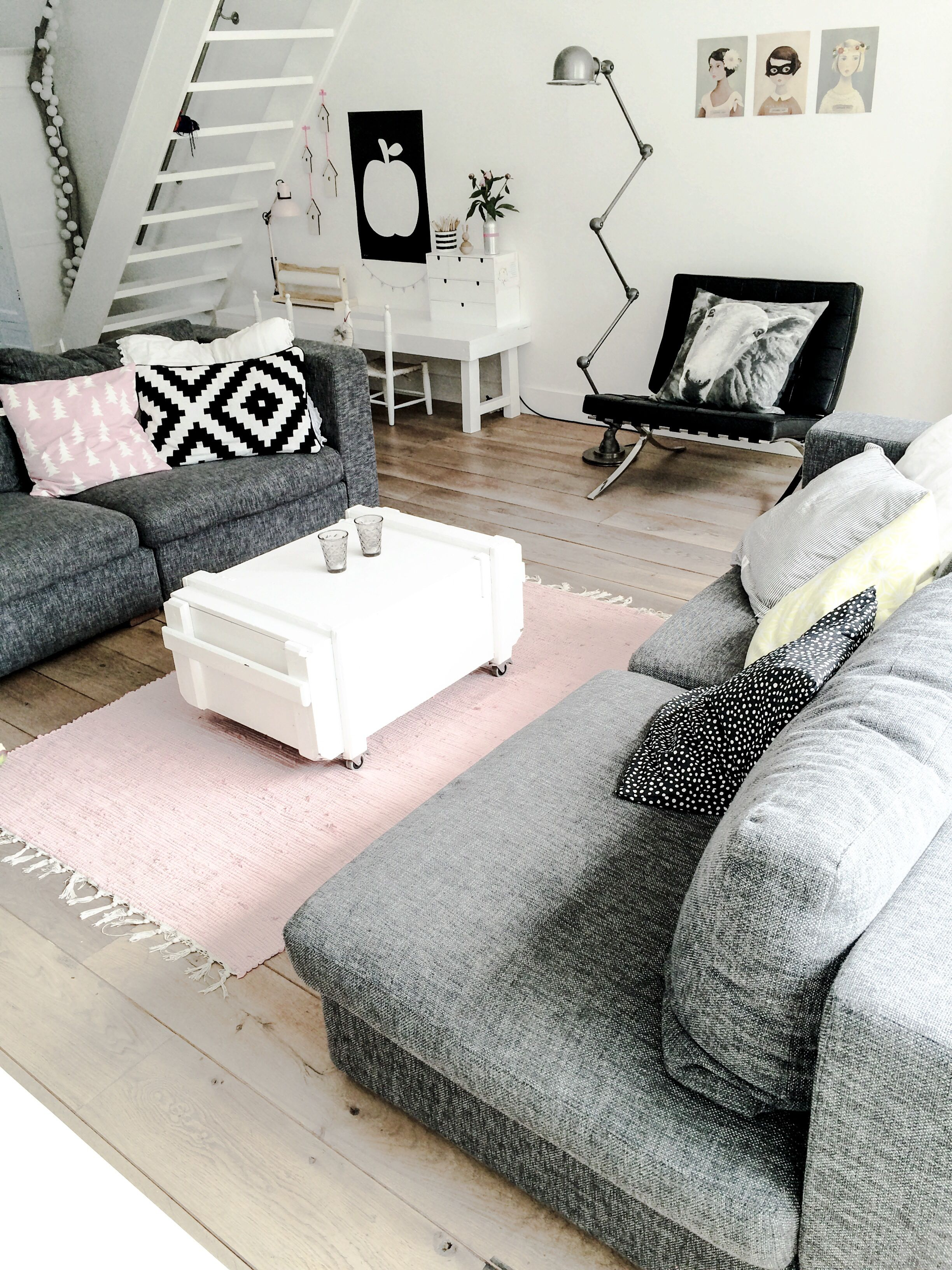 Killer color combo black white pale pink grey condo - Black and white and grey living room ...