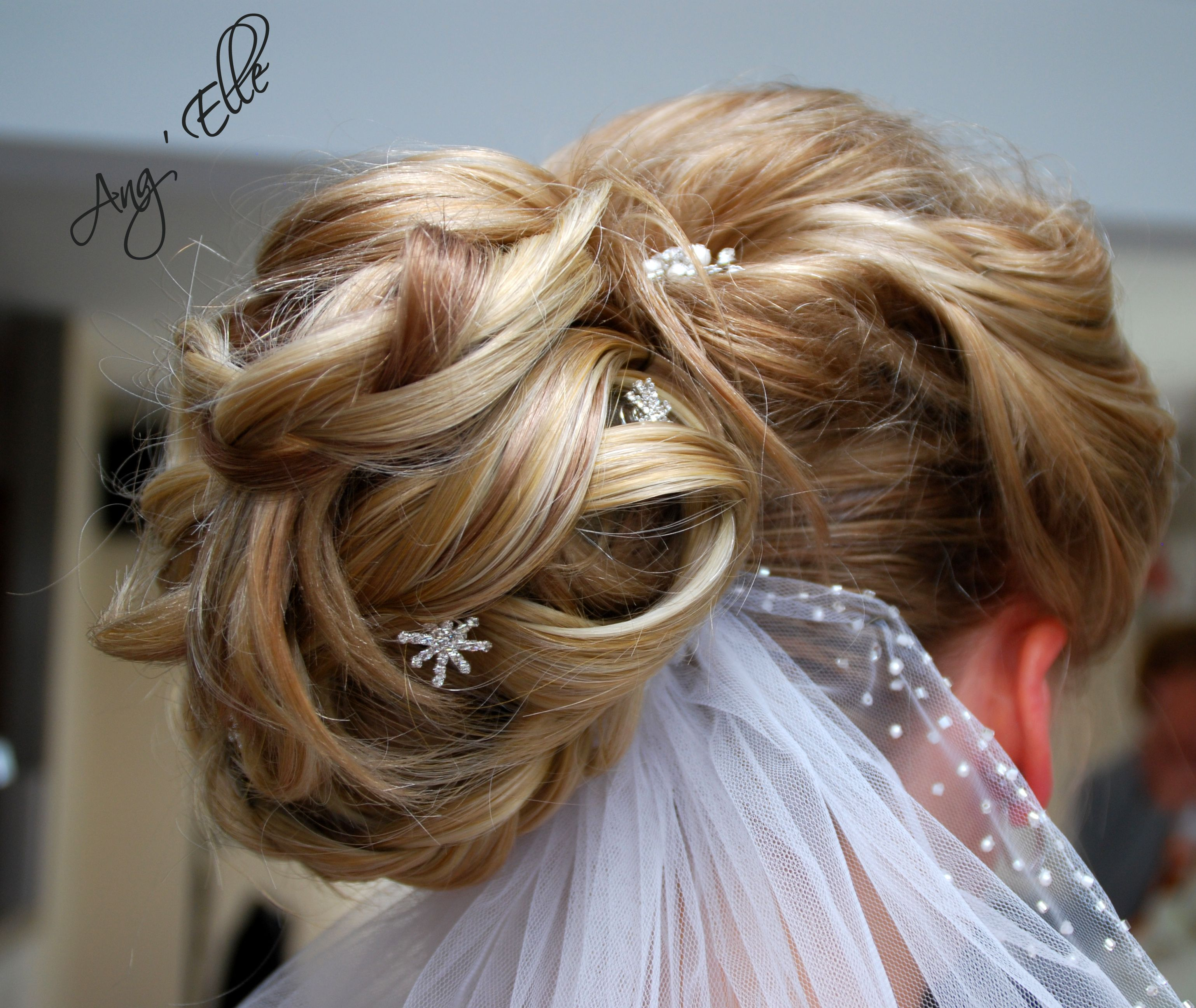 Création coiffure mariage avec voile & strass Coiffure