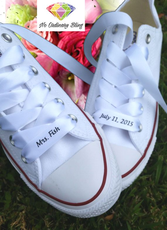 White Bridal Converse with Personalized Ribbon Laces. White Bridal Converse  with Personalized Ribbon Laces Bride Shoes d42ba5f2b