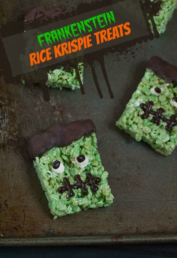 these frankenstein rice krispie treats are a super cute and easy recipe for halloween