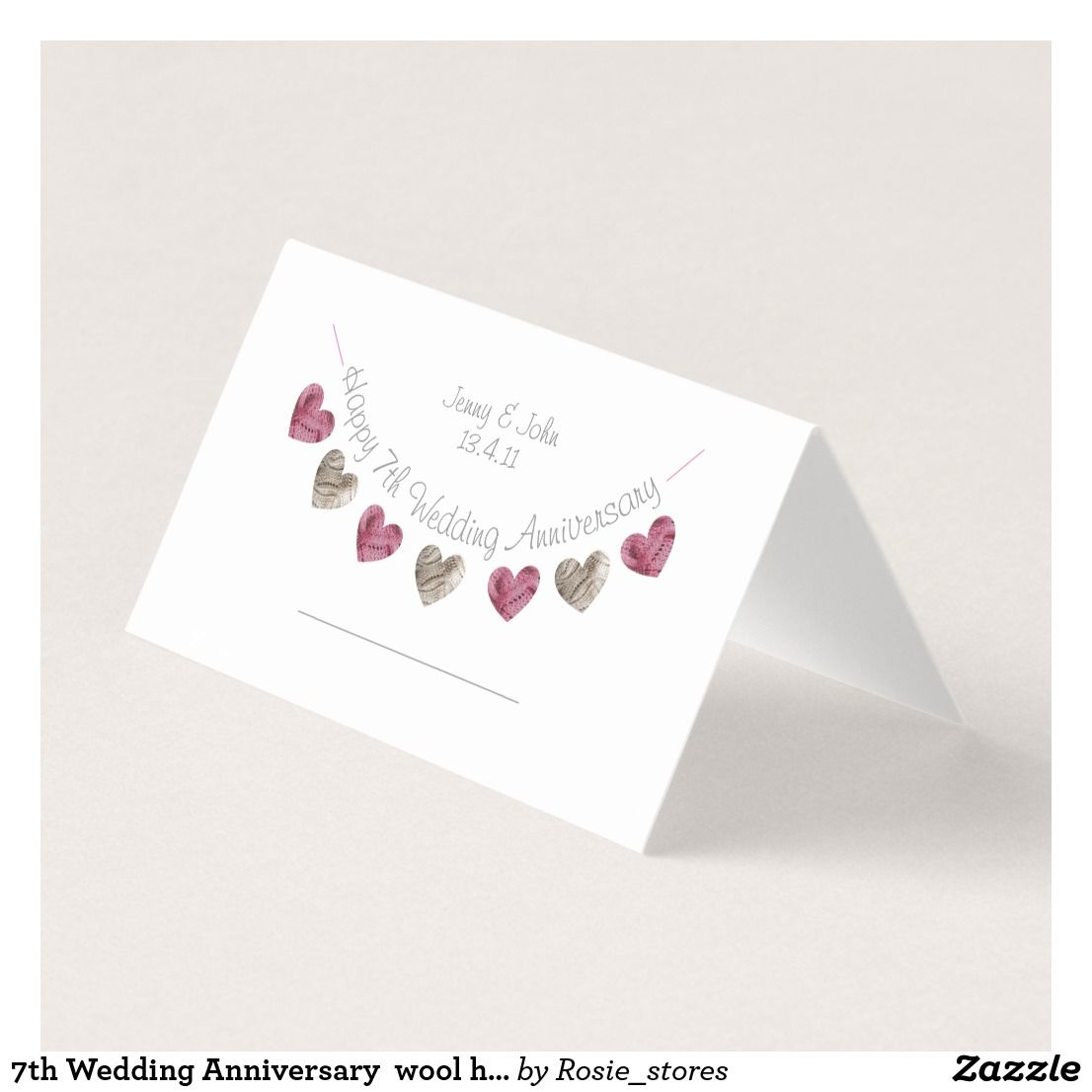 7th Wedding Anniversary wool heart placecard Zazzle.co