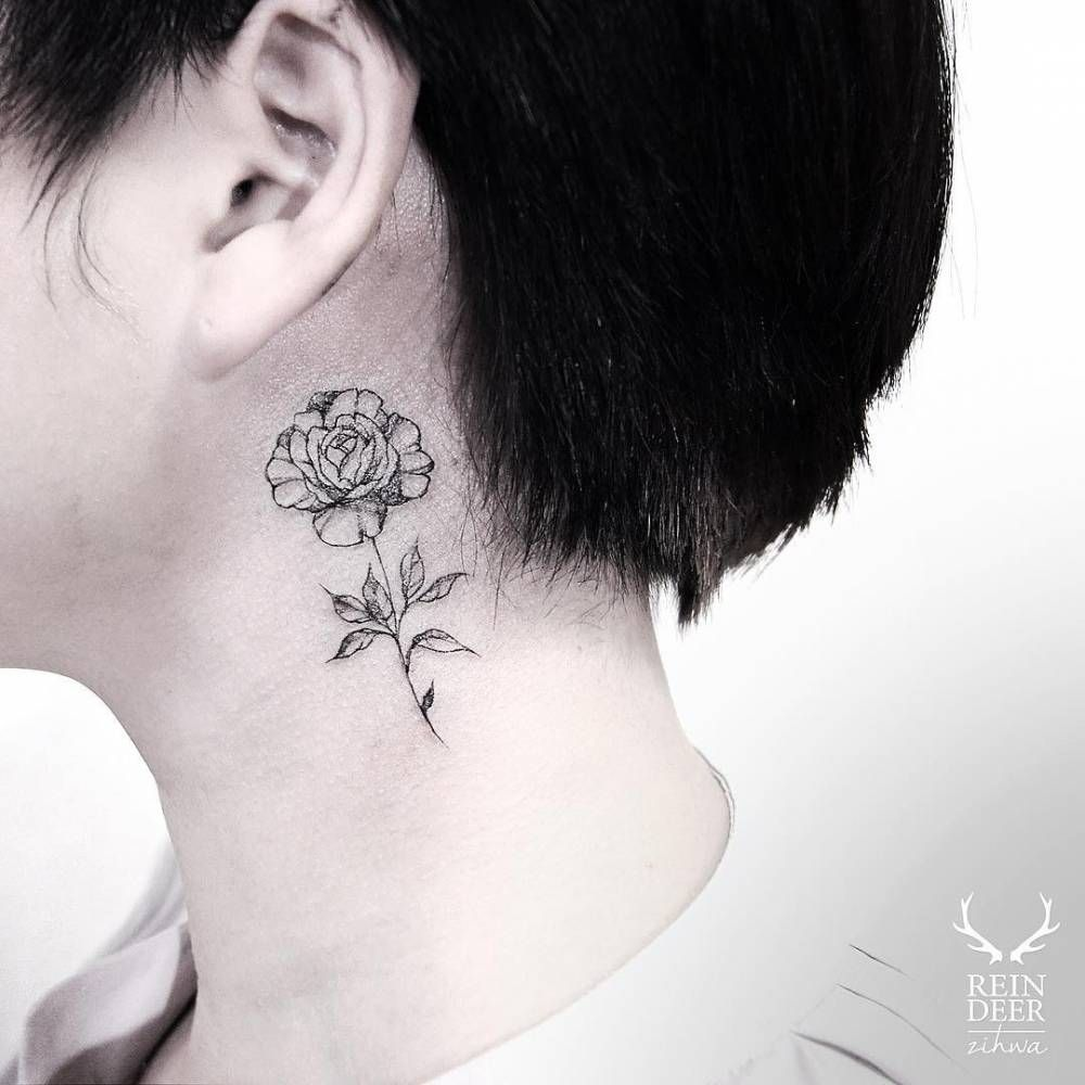 Small Rose Tattoo Behind The Left Ear Flower Neck Tattoo Small Rose Tattoo Neck Tattoo