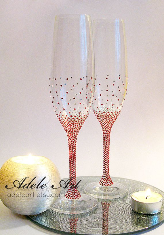 106fd53e889 Red Champagne Wedding Flutes Set of 2 classic wedding by Adeleart  #adeleartflutes