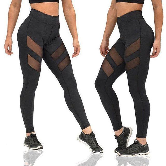 7905aaaef Sexy Yoga Pants lace transparent leggings see through high waist mesh black gym  leggings Fitness sports tights women leggins