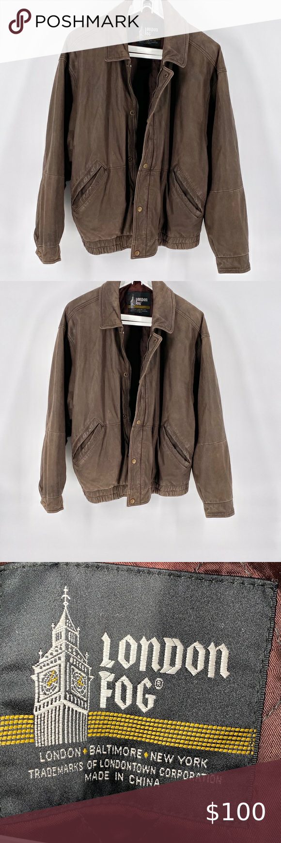 London Fog Men S Leather Bomber Jacket L Leather Bomber Jacket Mens Leather Bomber Jacket Zipped Leather Jacket