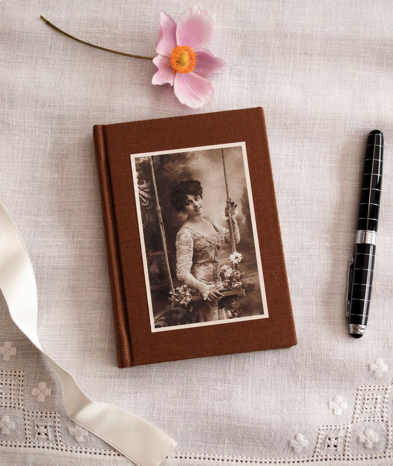 Notebook with vintage photo of woman with swing and flowers - blank journal - small notebook - diary by GreenDragonBooks on Etsy