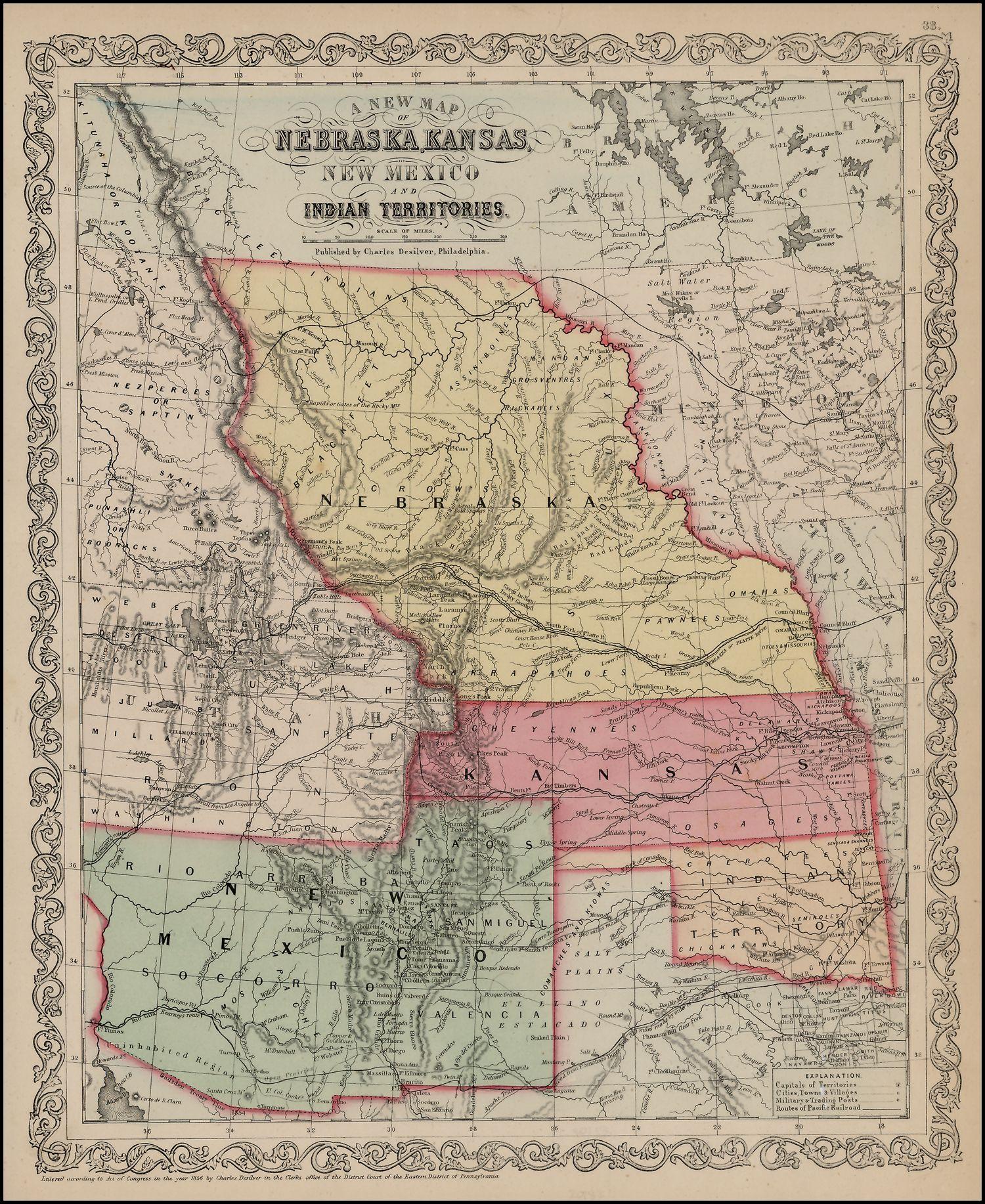 1856 desilver map, nebraska and kansas territory map